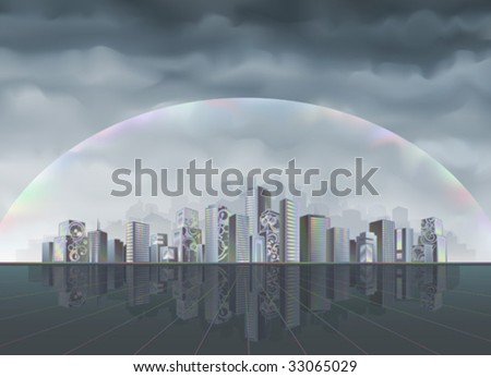 Big fantastic city protected from the hostile environment by rainbow force field (better viewed at higher resolution)