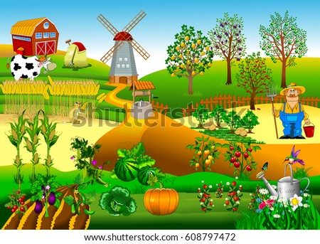 big farm with a windmill and a
