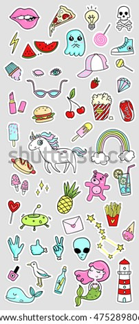 Big fashion quirky cartoon doodle patch badges with cute elements. Vector illustration isolated on background. Set of stickers, pins, patches in cartoon comic style of 80s-90s. Vector collection