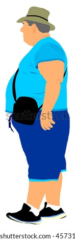 Big Fat Tourist Man Vector Illustration Isolated On White ...