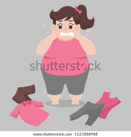 Big Fat woman cannot wearing her clothes because she is too fat,tight, fit, too small, body over weight, sad, afraid, unhappy, big size, diet  cartoon lose weight, Lifestyle healthy Healthcare concept