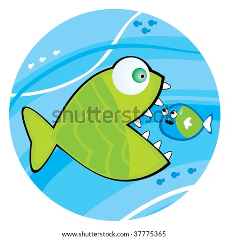 Big fish eating a little fish. Vector illustration.