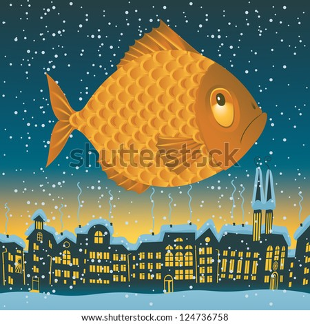 big fish flies through the sky on the roofs of the old town