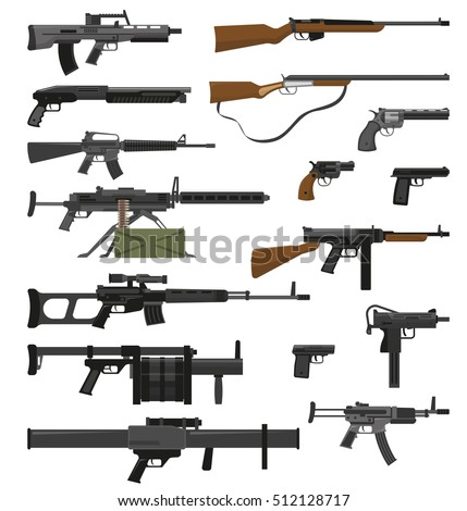 big flat set of various weapons