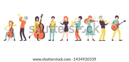 Big flat vector set group of musicians, playing clarinet, saxophone, trumpet, flute, trombone, violin, contrabass, cello and guitar instruments.