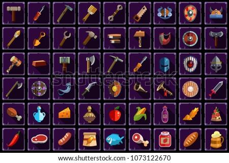big flat vector set of items