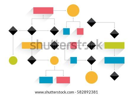 Big flowchart. Geometric scheme. Presentation infographics element without text.