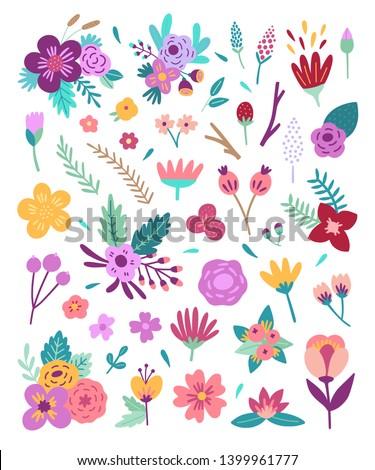 big flowers set floral vector