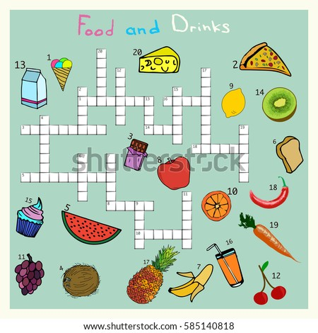Big Food And Drink Crossword Words Game For Children Complete The Puzzle