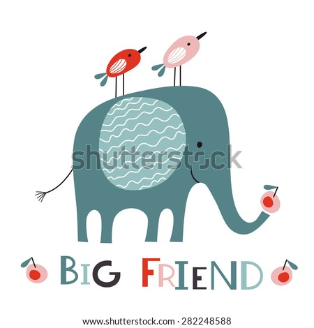 big friend elephant and two