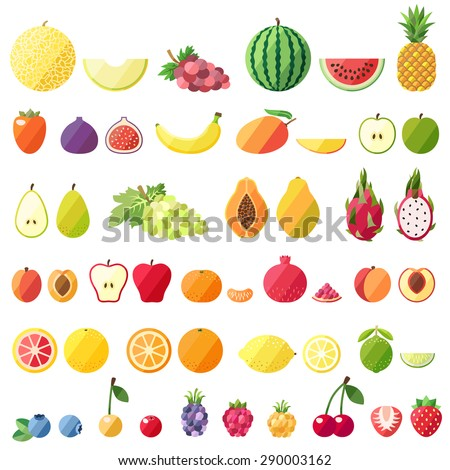 Big fruit vector set. Modern flat design. Isolated objects. Fruit icons.
