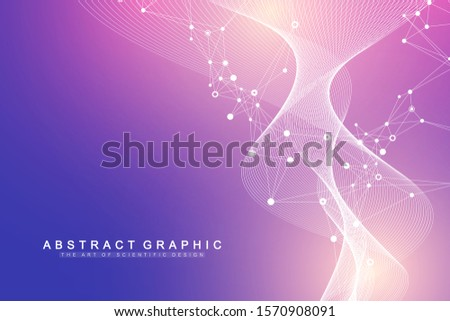 Big Genomic Data Visualization. DNA helix, DNA strand, DNA Test. Molecule or atom, neurons. Abstract structure for Science or medical background, banner. Wave flow.