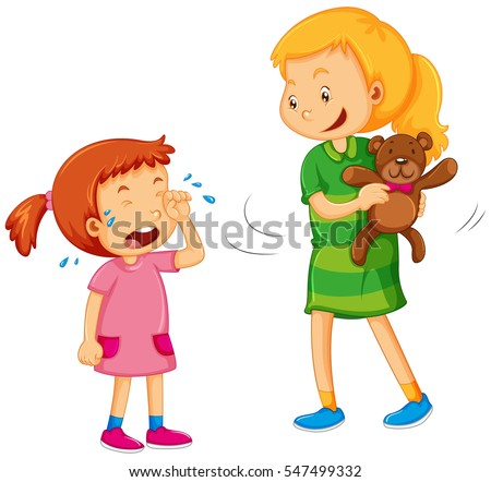 Big girl taking bear away from little girl illustration
