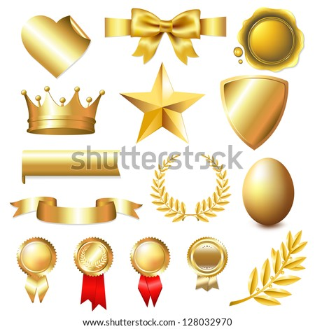 Big Golden Collection, Isolated On White Background