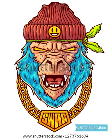 Big gorilla rapper in hat. Image for print on T-shirts and tee without slogan. Hip hop dancer tattoo. Gangster monkey with gold chain. Cover for rap album. Vector illustration on light background