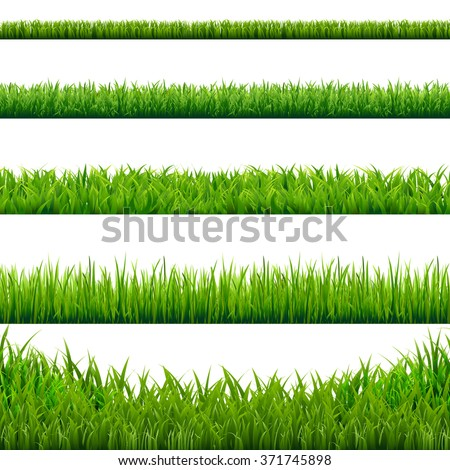 big grass borders set  vector