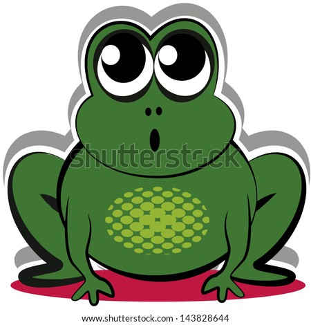 big green frog vector with surprised face looking up white background ...