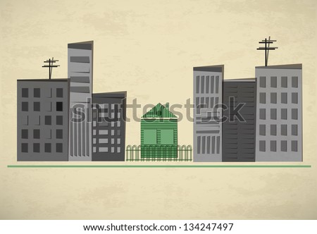 Big grey buildings and a small green house. Paper town background. Creative vector illustration