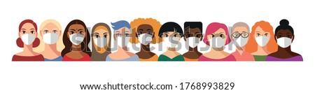 Big group of diferent women wearing face masks