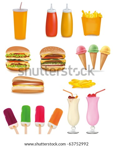 Big group of fast food products. Vector. - stock vector