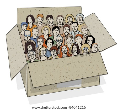 Big group of people in the box. The big group of different characters unrecognizable people in the box like metaphor of work team. Color vector illustration.