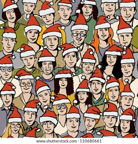Big group people in Santa hats seamless pattern The group of unrecognizable adult people celebrate Christmas. Color vector seamless pattern illustration.