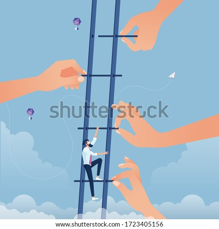 Big hand build stair to help businessman go up higher. Business growth success and teamwork concept