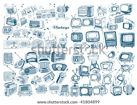 big hand drawn retro technology set