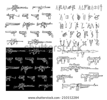 big hand drawn set of weapons
