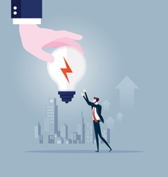Big hand gives idea light bulb to businessman. Business concept vector