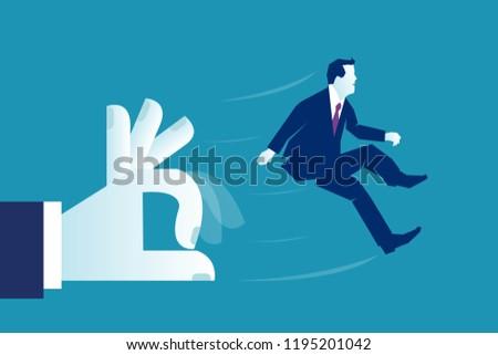 big hand of boss giving flick