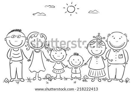 Big Happy Family Black And White