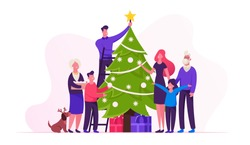 Big Happy Family Decorate Christmas Tree Together Prepare for Winter Holidays Celebration Hanging Balls and Star on Top of Spruce, People Celebrating New Year at Home. Cartoon Flat Vector Illustration