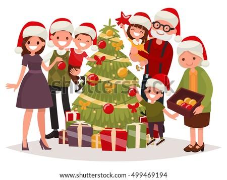 big happy family decorates the