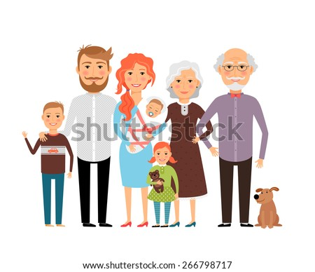big happy family father mother
