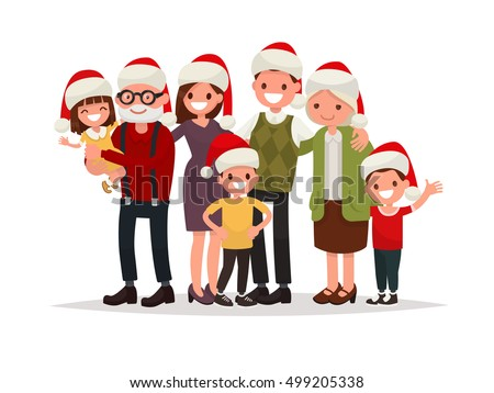 Big happy family in Christmas hats. Grandparents, parents and children together. Vector illustration of a flat design