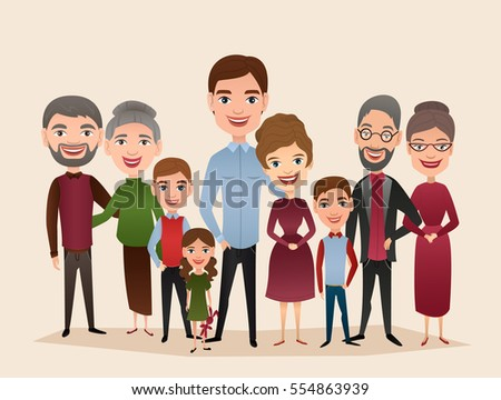 Big happy family isolated vector illustration. Mother, father, grandparents, children, parents, brother, sister, son, daughter cartoon characters. Family generations standing together, family portrait