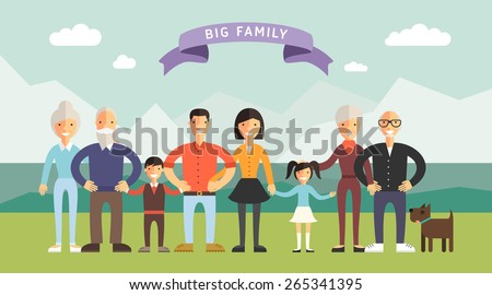 big happy family parents with