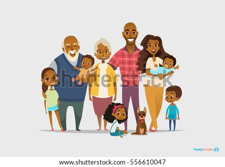Big happy family portrait. Three generations - grandparents, parents and children of different age together. Smiling cartoon characters. Vector illustration for poster, greeting card, website, ad.