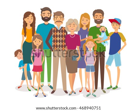 Big happy family. Several generations. Vector illustration