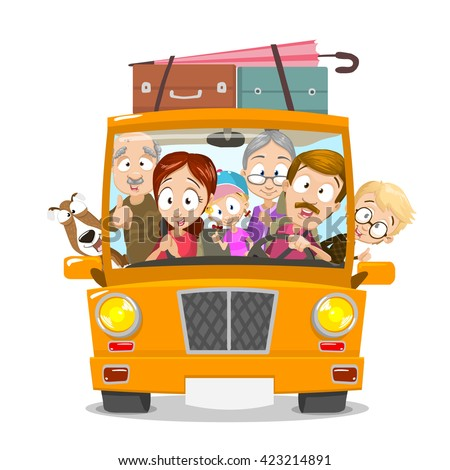 Big happy family traveling by car. Family going to summer vacations. Summer holiday. Tourism and vacation theme. Flat design vector illustration.