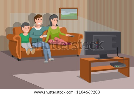 big happy family watching tv on