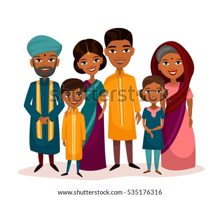 0d1f0b2a82 Big happy indian family in national dress isolated vector illustration.  Parents, grandparents and children