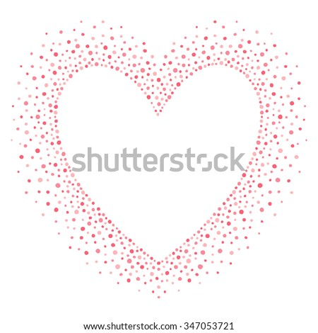 Big heart shape frame with empty space for your greetings. Valentines day frame made of hand drawn spots or dots of various size. Shades of pink abstract background.