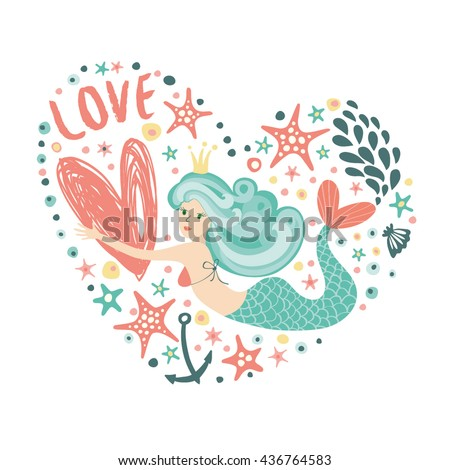 big heart with a mermaid
