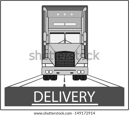 big heavy truck on road - delivery symbol