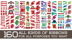 Big Huge Biggest Set of Ribbons and Labels in Vector Retro and Vintage for All Purposes