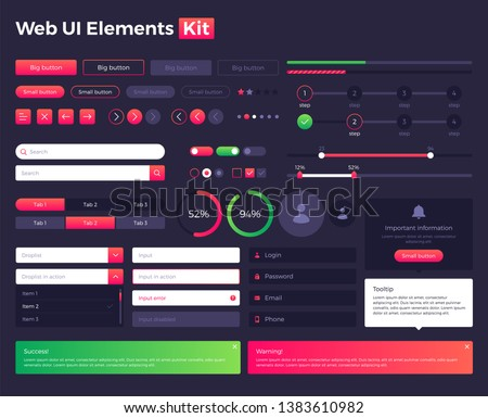 Big, huge, enhanced ui kit for web design, mobile apps with the different buttons, graphics, diagramms, menu, search, tabs and other.