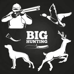 Big hunting elements on blackboard - duck, dog, deer and hunter. Vector illustration