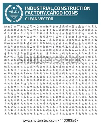 Big icon,Industry icon,construction,factory icon,cargo icon,clean vector #443383567